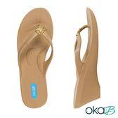 【Oka-B】TILDA圓形配飾人字夾腳楔型高跟涼鞋  卡其色(K409TI-BR)