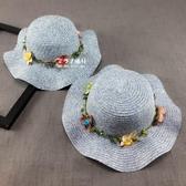 米蘭 韓版大沿花朵草帽親子防曬遮陽帽出游沙灘涼帽子潮夏兒童沙灘草帽