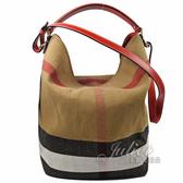 茱麗葉精品【全新現貨】BURBERRY 39457281 經典格紋棉麻兩用水桶包.紅邊