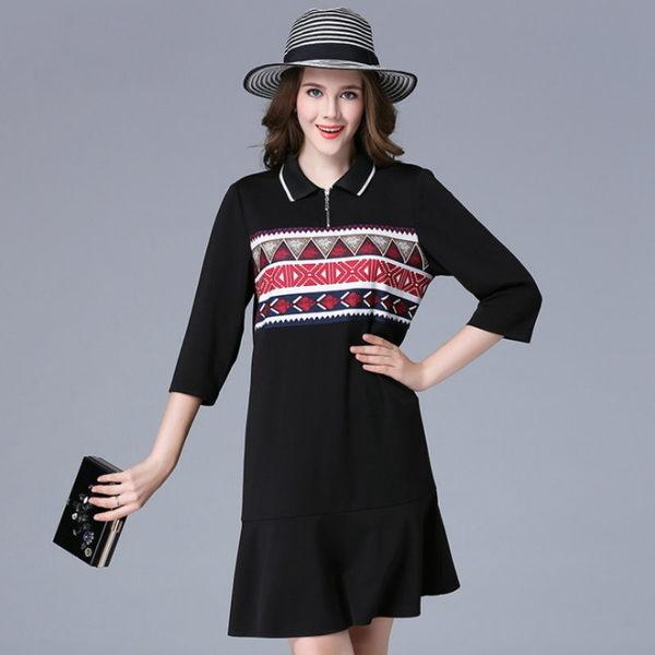 大尺碼 歐美時尚民族風幾何圖形印花七分袖洋裝XL~5XL【紐約七號】A2-560