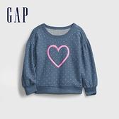 Gap女幼童 碳素軟磨系列 法式圈織可愛圓領休閒上衣 677876-藍色波點