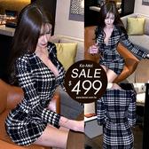 克妹Ke-Mei【ZT56402】SPICY辛辣名媛深V經典格紋連身洋裝