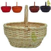 藤編竹編手提籃子水果籃購物雞蛋籃菜籃編織花籃大號采摘野餐藍 聖誕交換禮物