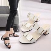 新款涼鞋女夏中跟韓版一字拖粗跟女士涼拖鞋時尚女鞋外穿高跟 時尚潮流