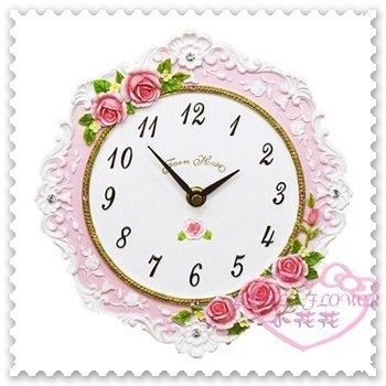 ♥小花花日本精品♥Hello Kitty 日本玫瑰時鐘掛鐘客廳掛鐘立體玫瑰花造型粉色花朵日本限定(預購)