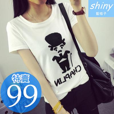 【D722】shiny藍格子-玩味時尚.可愛卡通圖案印花圓領短袖棉T