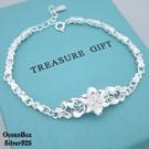 §海洋盒子§銀白優雅花朵設計S999純銀手鍊