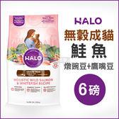 [寵樂子]《HALO嘿囉》成貓燉食無穀低脂鮭魚(燉豌豆+鷹嘴豆)6磅 / 貓飼料