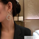 字母耳環2020年新款潮韓國氣質滿鑚高級感耳墜網紅個性設計感耳飾 牛轉好運到