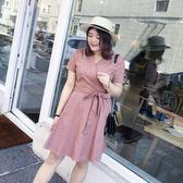 大碼女裝連身裙女胖mm高腰V領短袖裙子