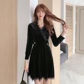 VK精品服飾 韓國豐金絲絨蕾絲高端氣質蕾絲長袖洋裝