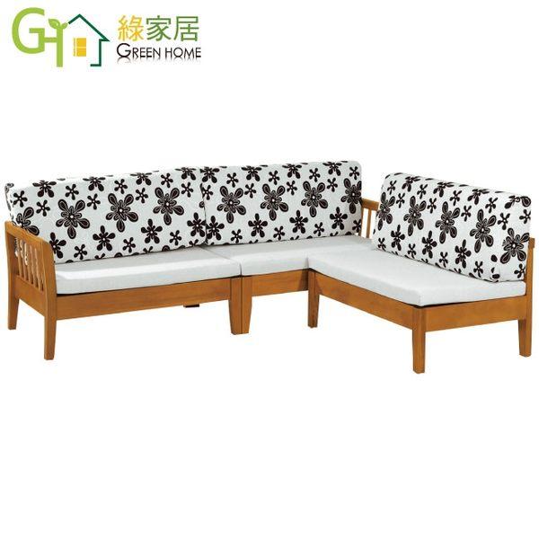 【綠家居】麥尼 典雅風亞麻布實木L型沙發椅組合(四人椅+椅凳)