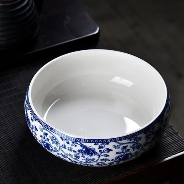 大號茶洗家用小號茶具配件水盂洗茶碗筆洗青花陶瓷茶