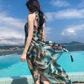 絲巾女夏季披肩雪紡百搭海邊沙灘巾出游度假圍巾兩用超大防曬紗巾