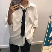 純色日式短袖vetiver白色襯衫女森女寬松學生領帶襯衣抖音夏