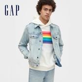 Gap男裝創意彩虹印花套頭休閒上衣588551-夢幻奶白色