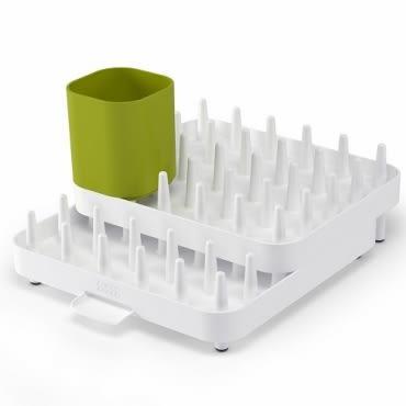 Joseph Joseph 可調式碗盤瀝水架三件組(白綠)