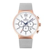 OBAKU 暴風元素三眼腕錶腕錶-銀X玫瑰金
