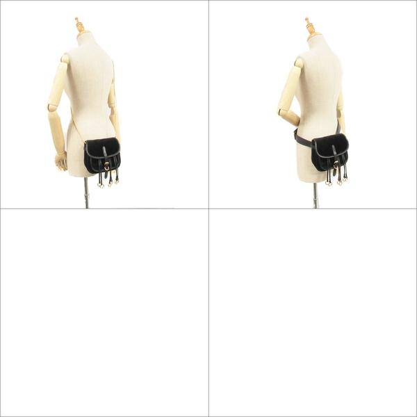 PRADA 普拉達 黑色天鵝絨X牛皮金環造型腰包 肩背包  1BL002 【BRAND OFF】