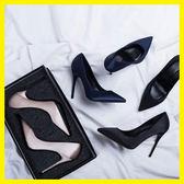 高跟鞋女黑色禮儀職業ol工作鞋尖頭細跟綢緞2018新款真皮春秋單鞋  初見居家