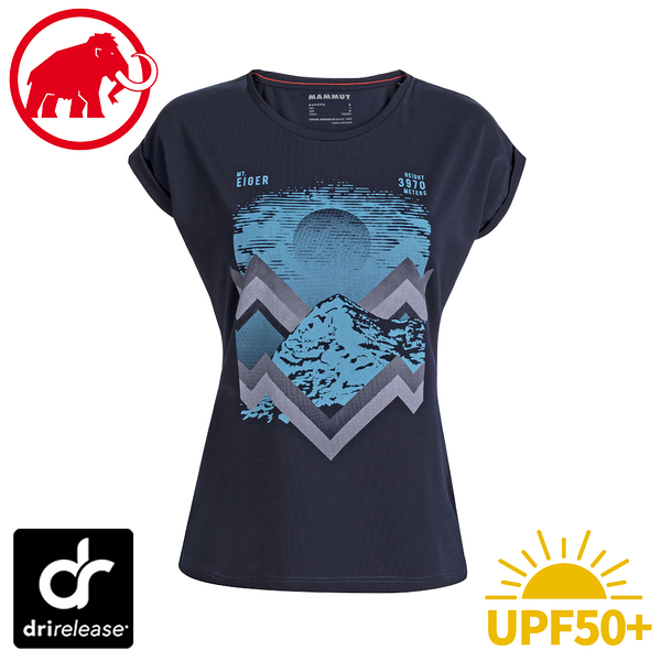 【MAMMUT 長毛象 女 Mountain T-Shirt 短袖上衣《藏青》】1017-00962/排汗衣/抗UV/運動衣