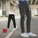 牛仔褲 飄條吊飾黑色抓破小直筒牛仔褲【N...