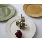 西餐盤 美式復古浮雕花紋陶瓷盤姜古典復古平盤家用餐盤西式平盤牛排盤【快速出貨八折搶購】