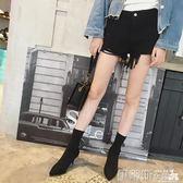 細跟裸靴尖頭高跟短靴女2018歐美針織襪靴顯瘦彈力靴秋季細跟女靴子黑 伊蒂斯女裝