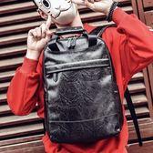 後背包男士韓版後背包潮流背包電腦包時尚大學生百搭休閒男包PU皮質書包 曼莎時尚