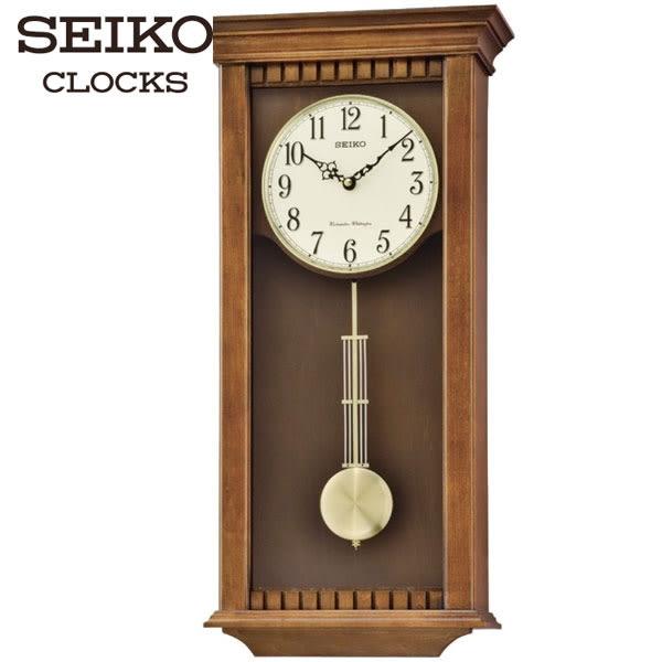 SEIKO 精工掛鐘 復古長型木質鐘聲掛鐘 62X30.2CM・公司貨・QXH064B|高雄名人鐘錶