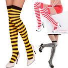 學生襪 橫紋運動襪 紅白.黑白.黑黃大腿襪 過膝長襪-愛衣朵拉