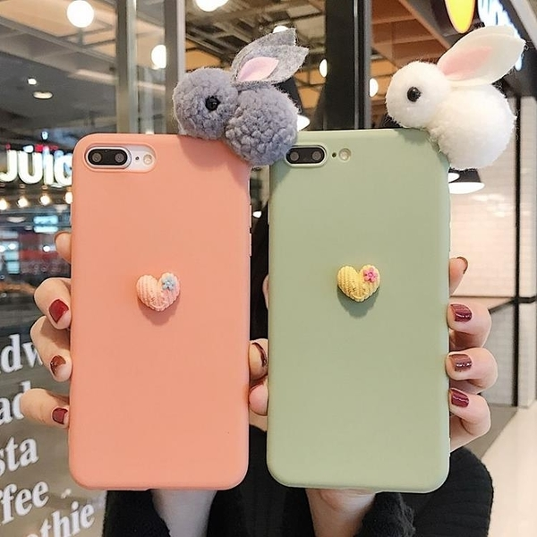 新品特價 毛絨兔蘋果11手機殼iPhone12個性X潮6S女7p硅膠8plus防摔XR軟7套8