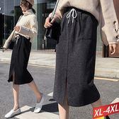 雙口袋綁帶長裙(2色)XL~4XL【791074W】【現+預】☆流行前線☆