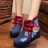老北京布鞋女繡花鞋新款民族風內增高女士布鞋單靴休閒短靴子 快速出貨