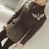 西裝外套-鴛鴦刺繡復古立領中長版大衣72p9[巴黎精品]