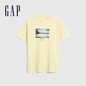 Gap男裝 純棉海灘風印花短袖T恤 683938-米黃色