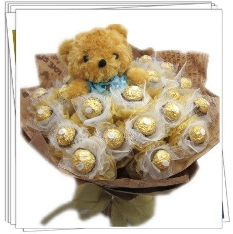 (yr325)永和情意花坊網路花店花束花禮不漲價~21朵中泰迪熊金莎甜蜜花束特價899元