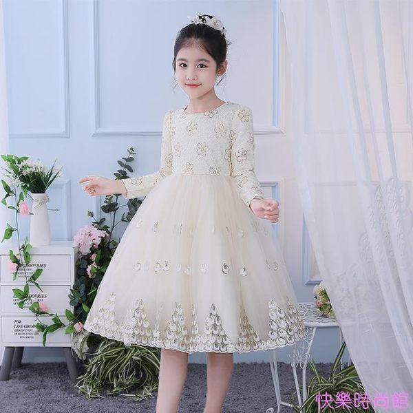兒童禮服公主裙花童女童婚紗裙蓬蓬裙鋼琴演出服主持人晚禮服秋冬