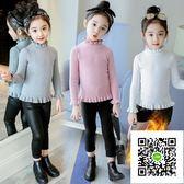 女童毛衣  女童純棉毛衣加絨加厚秋冬新款小童小女孩洋氣兒童打底針織衫 歐歐流行館