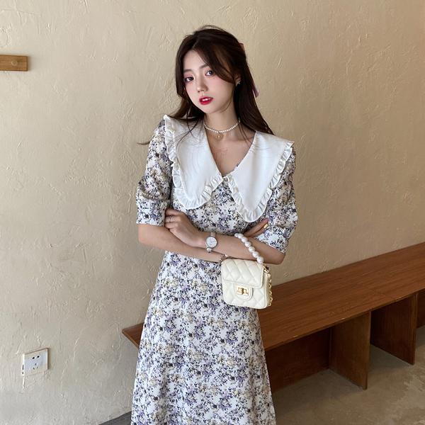 VK旗艦店 韓國風名媛大翻領碎花印花收腰大碼短袖洋裝
