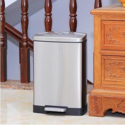 不銹鋼垃圾桶腳踏家用衛生間客廳廚房歐式大號創意靜音