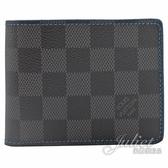 Louis Vuitton LV N64033 Slender 黑棋盤格紋雙折短夾.電藍色 全新 現貨【茱麗葉精品】
