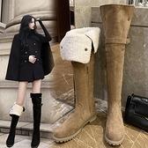 長靴 長靴女過膝2020年秋冬季新款羊羔毛長筒靴網紅瘦瘦高筒加絨雪地靴 風馳