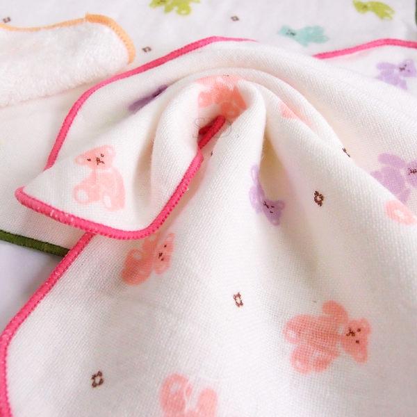雙星Gemini日系紗布系列-SG497K 花花小熊印花紗布小方巾