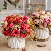 西湖蝶客廳假花擺件裝飾餐桌臥室擺放花卉仿真花小盆栽陶瓷花瓶束   mandyc衣間