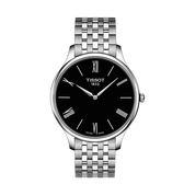◆TISSOT◆TRADITION 5.5 簡約大三針石英腕錶T063.409.11.058.00 黑x銀