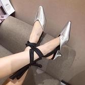 包頭穆勒鞋半拖鞋外穿時尚女鞋2019新款單鞋粗跟高跟鞋128-11
