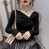 2020早秋新款洋氣韓版褶皺V領長袖t恤女緊身顯瘦針織打底衫上衣女 Korea時尚記