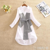 春裝款女格紋拼接假兩件襯衫裙收腰顯瘦蝴蝶結不對稱洋裝子 「雙12購物節」