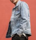 找到自己 MD 時尚 男 街頭 水洗 字母貼標 休閒外套 夾克 牛仔外套